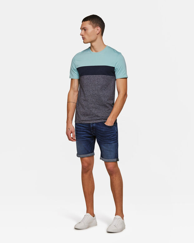 Heren colourblock T-shirt Lichtblauw