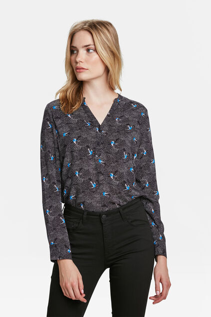 DAMES PRINT BLOUSE Marineblauw