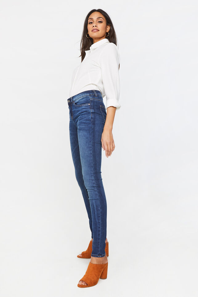 Dames mid rise super skinny jeans Donkerblauw