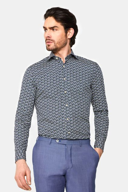 Heren slim fit overhemd met dessin All-over print