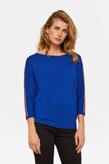 Dames sporty stripe top Felblauw