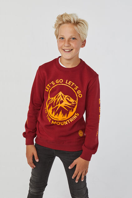 Jongens geprinte sweater Bordeauxrood