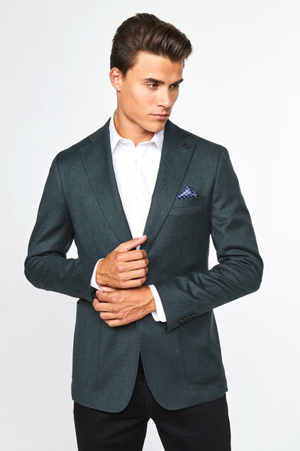 Heren slim fit blazer Donkergroen