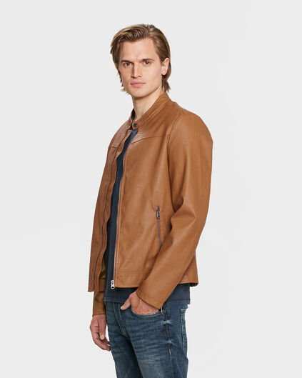 HEREN LEATHER LOOk BIKER JACKET Cognac