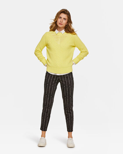 Dames slim cropped dessin chino Zwart