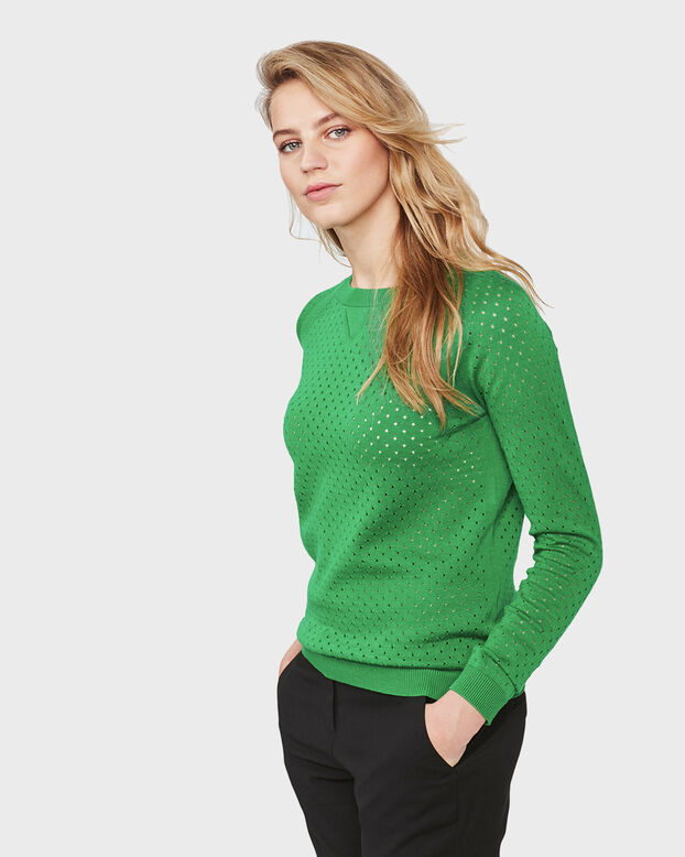 DAMES PERFORATED DESSIN SWEATER Groen