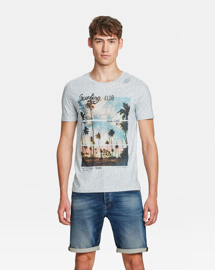 HEREN PALM PRINT T-SHIRT Lichtblauw