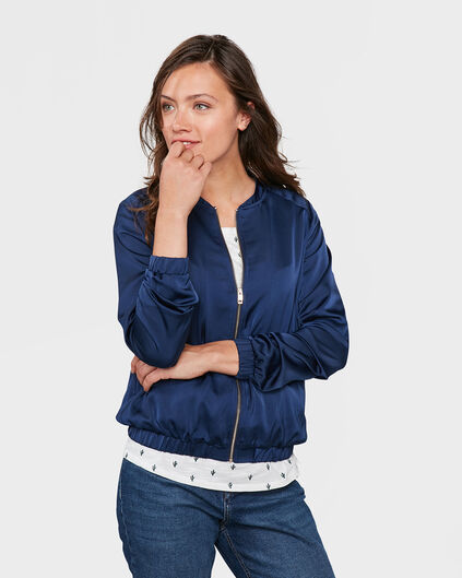 DAMES SATIN BOMBER JACKET Marineblauw