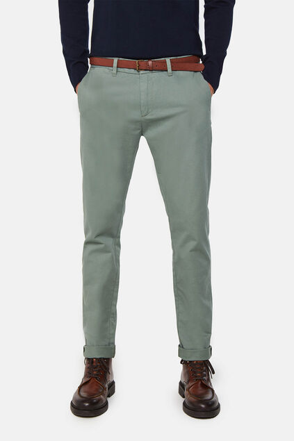 Heren skinny fit effen chino Mosgroen