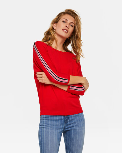 Dames sporty stripe top Rood