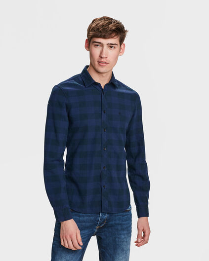 HEREN SLIM FIT CHECKED OVERHEMD Marineblauw
