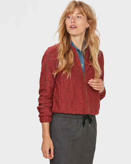 DAMES LACE BOMBER JACKET Roestbruin
