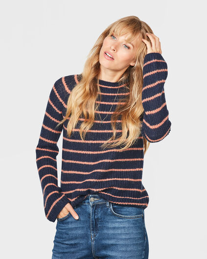 DAMES MOHAIR KNIT STRIPE TRUI Donkerblauw