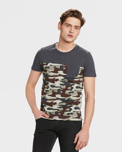 HEREN CONTRAST ARMY PRINT T-SHIRT Donkergrijs