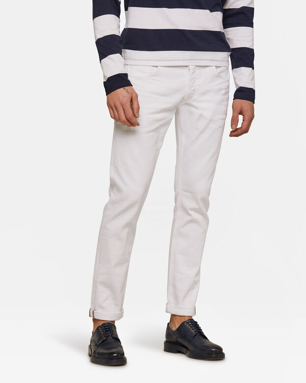 Heren slim tapered comfort stretch jeans Wit