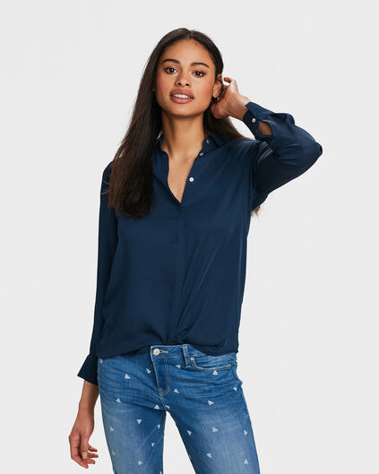 DAMES SLIM FIT SILKY BLOUSE Marineblauw