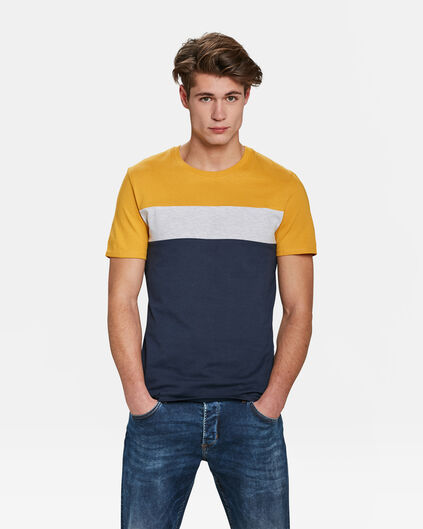 HEREN COLOURBLOCK T-SHIRT Geel