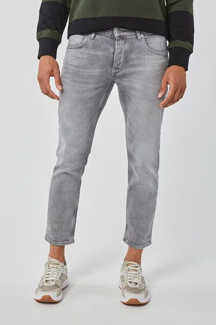 Heren mid rise slim tapered comfort stretch jeans Lichtgrijs
