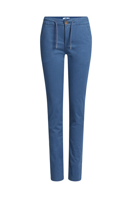 Jongens slim fit chino met drawstrings Blauw