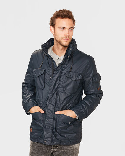 HEREN WAX COTTON FIELD JACKET Blauw