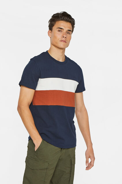 Heren T-shirt met colourblock Donkerblauw