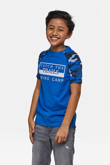 Jongens Trails print T-shirt Blauw