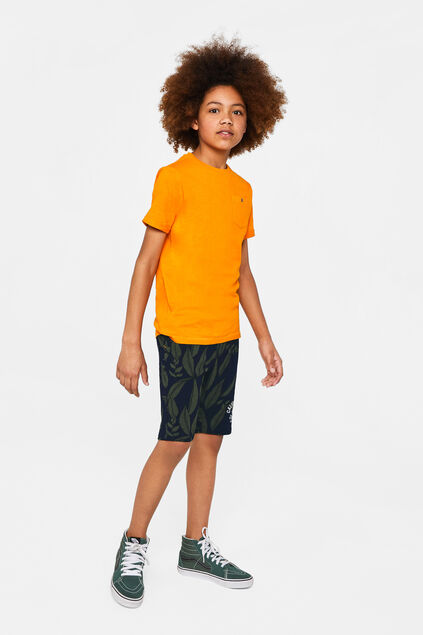 Jongens sweat short met bladerendessin All-over print