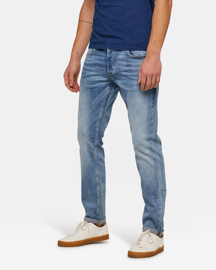 Heren slim tapered jog denim jeans Lichtblauw