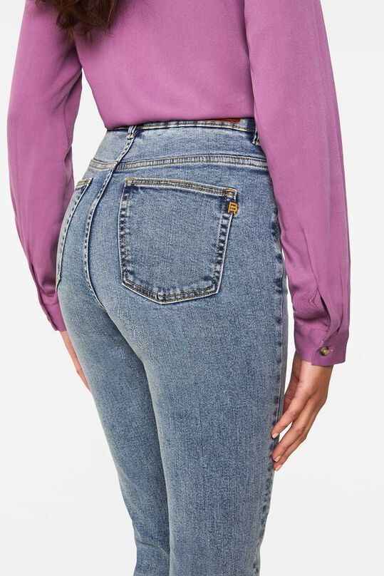 Dames high rise skinny jeans Grijsblauw
