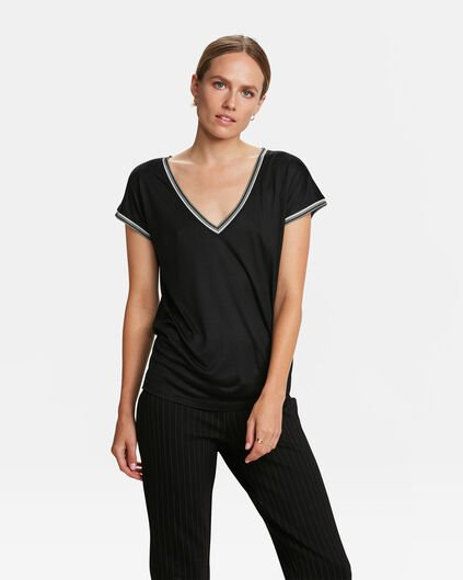 DAMES SPORTY STRIPE TOP Zwart