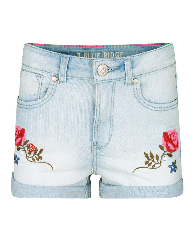 MEISJES SUPER SKINNY SUPER STRETCH EMBROIDERY DENIM SHORT Lichtblauw