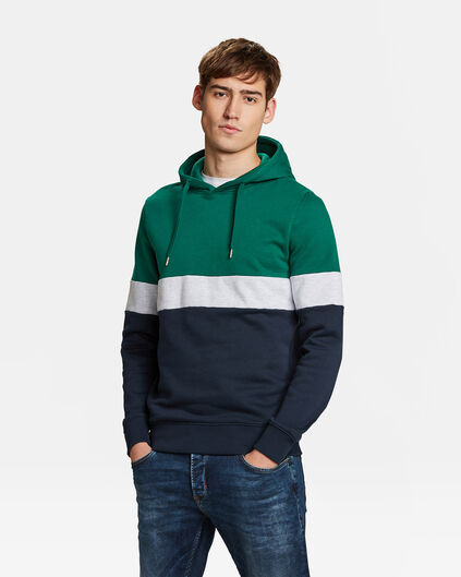 HEREN COLOURBLOCK CAPUCHON SWEATER Groen
