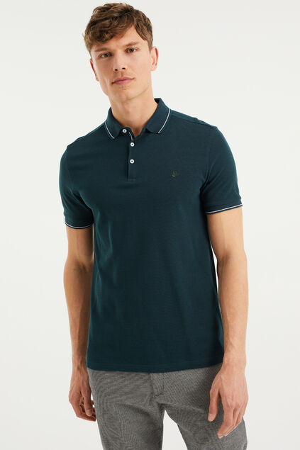 Heren slim fit polo Donkergroen