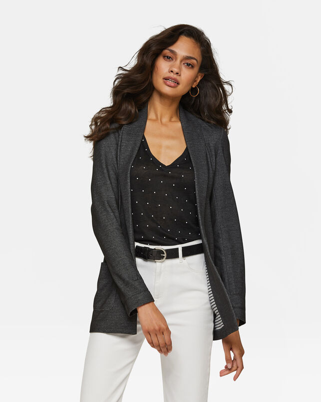 DAMES REGULAR FIT MELANGE BLAZER Zwart