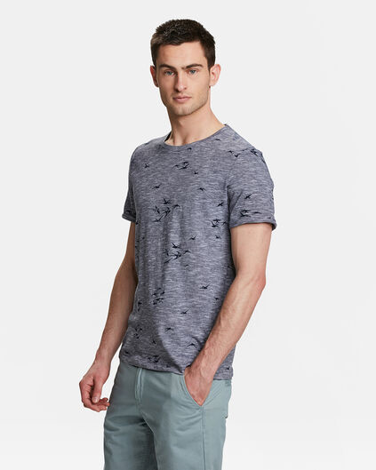 HEREN BIRD PRINT T-SHIRT Marineblauw