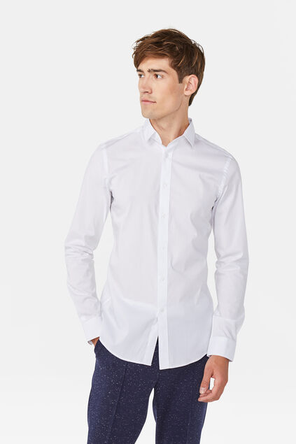 Heren slim tall fit overhemd Wit