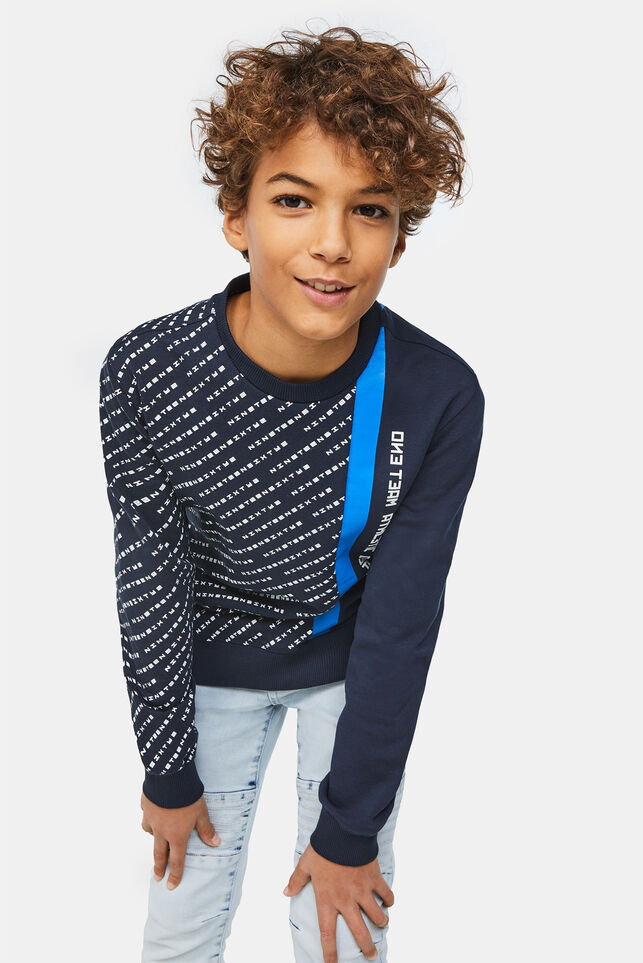 Jongens sweater met tapedetail Marineblauw