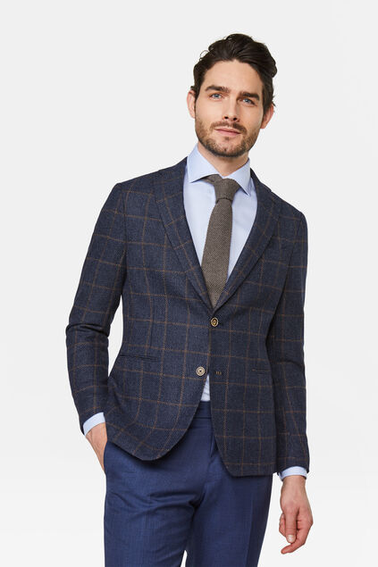 Heren slim fit blazer Donkerblauw