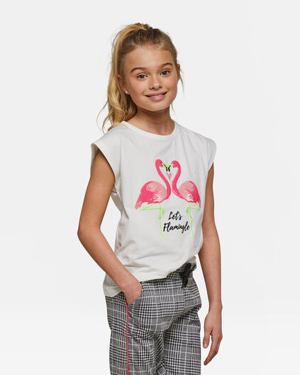 Meisjes let's flamingle pailetten T-shirt Wit