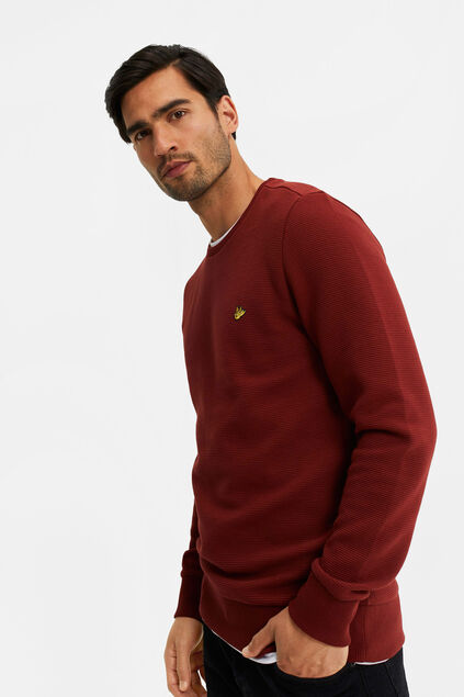 Heren sweater met ribstructuur Bordeauxrood
