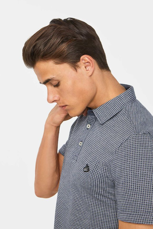 Heren polo jacquard dessin Donkerblauw
