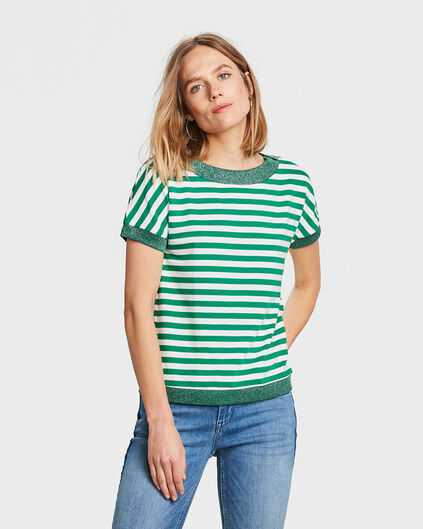 DAMES GLITTER STRIPE SWEAT TOP Groen