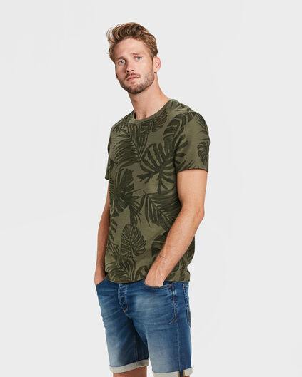 HEREN LEAF PRINT T-SHIRT Legergroen