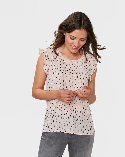 DAMES DOT PRINT RUFFLE TOP Zalmroze