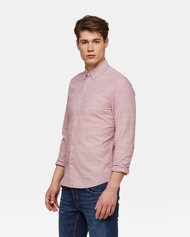 Heren Slim Fit dessin overhemd Roze
