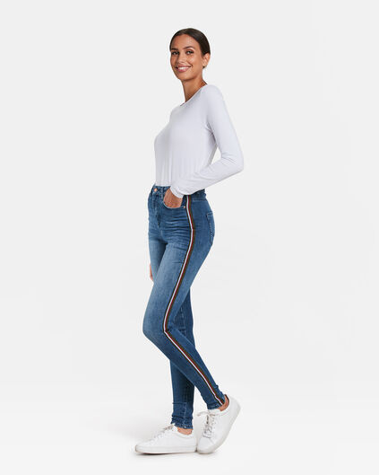 DAMES HIGH RISE SUPER SKINNY Blauw