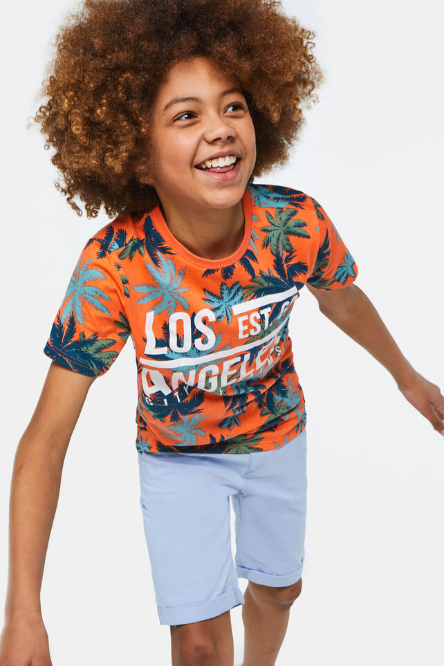 Jongens T-shirt met dessin en tekstopdruk All-over print