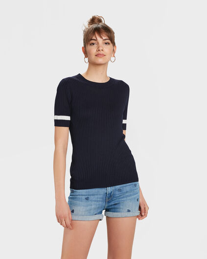 DAMES SPORTY RIB TOP Donkerblauw