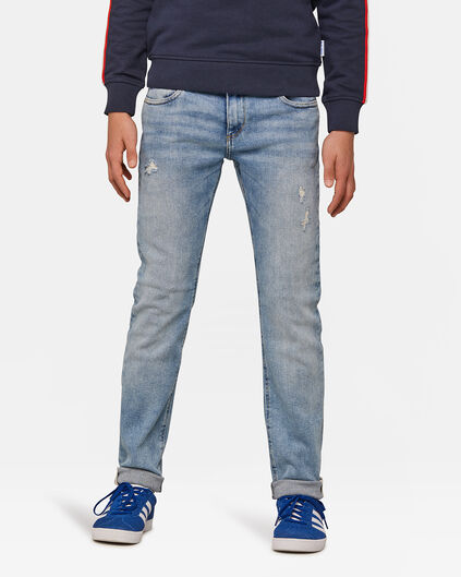 Jongens slim fit rip en repair super stretch jeans Blauw