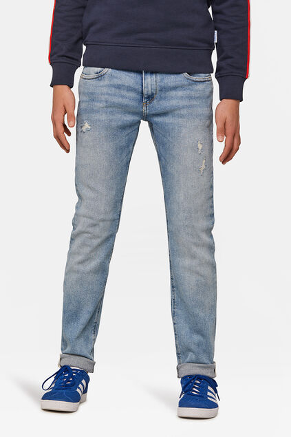 Jongens slim fit rip en repair jog denim jeans Blauw
